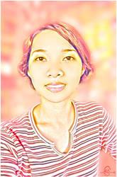 Pink Stripes Self-Portrait by michellemariesuan
