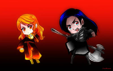 Chibi Mairon and Melkor by EPH-SAN1634