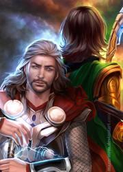 Through the darkness...together - Thor, Loki by Mazarinem