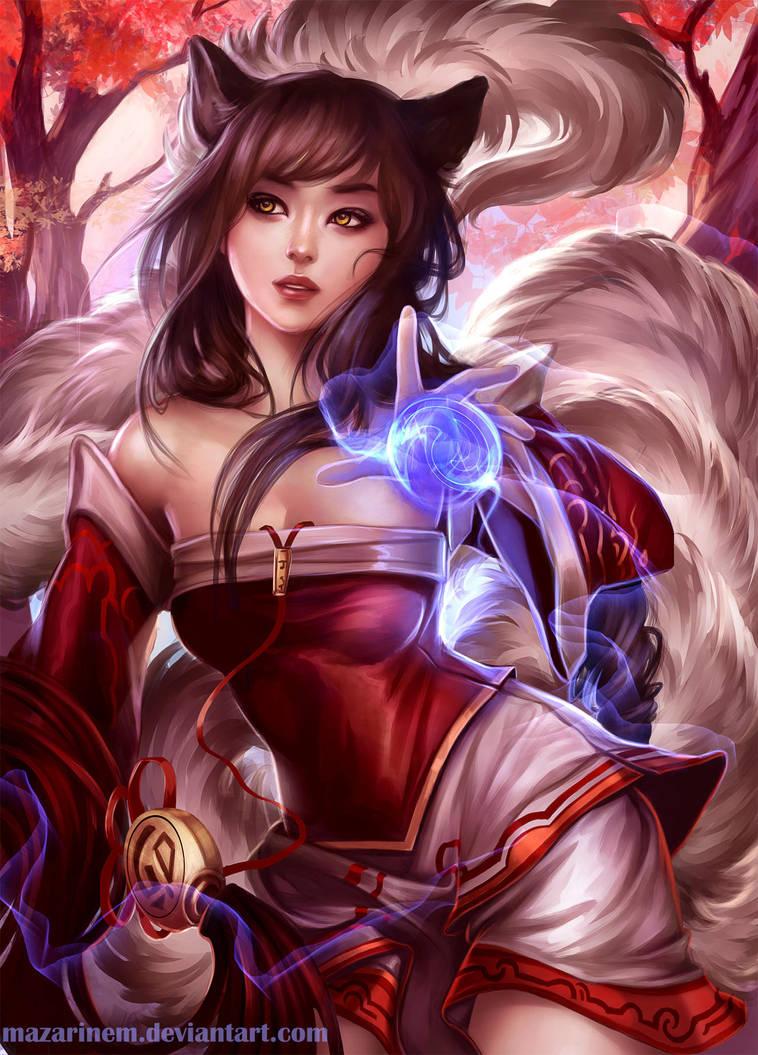 Commission - Ahri, League of Legends by Mazarinem