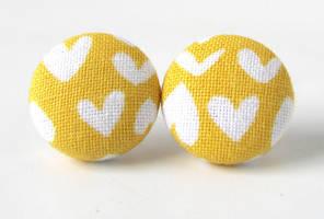 Yellow heart earrings by KooKooCraft