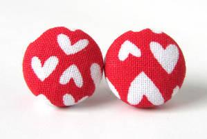 Red heart earrings by KooKooCraft