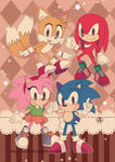 Retro Sonic and friends by Crystal-Ribbon