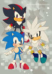 Retro Sonic Shadow and Silver by Crystal-Ribbon