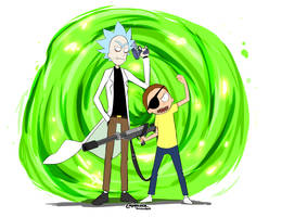 Evil rick and morty by LindaVonree