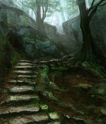 Forest Stairs by CinnamonAlchemy
