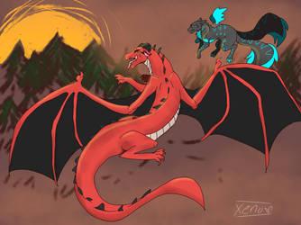 Demon Dragon (art trade) by XenoTheNeko
