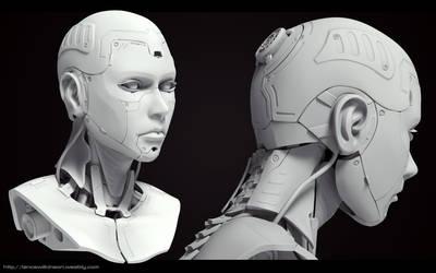 Cyborg Female bust Grey render 1 by lancewilkinson