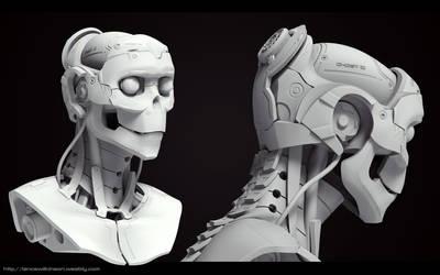 Cyborg Female bust Grey render 2 by lancewilkinson