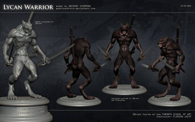Lycan Warrior: zbrush model character sheet by ghettoandroid