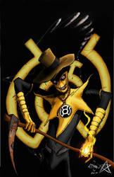 scarecrow yellow lantern by athenaglaukopis