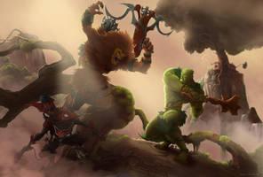 Grizzlor Againt Moss Man by clementmeriguet