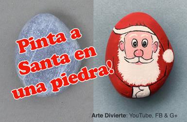 Como Pintar a Santa Claus en una piedra - Narrado by LeonardoPereznieto