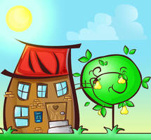 Cartoon house and tree illustration by melodia04