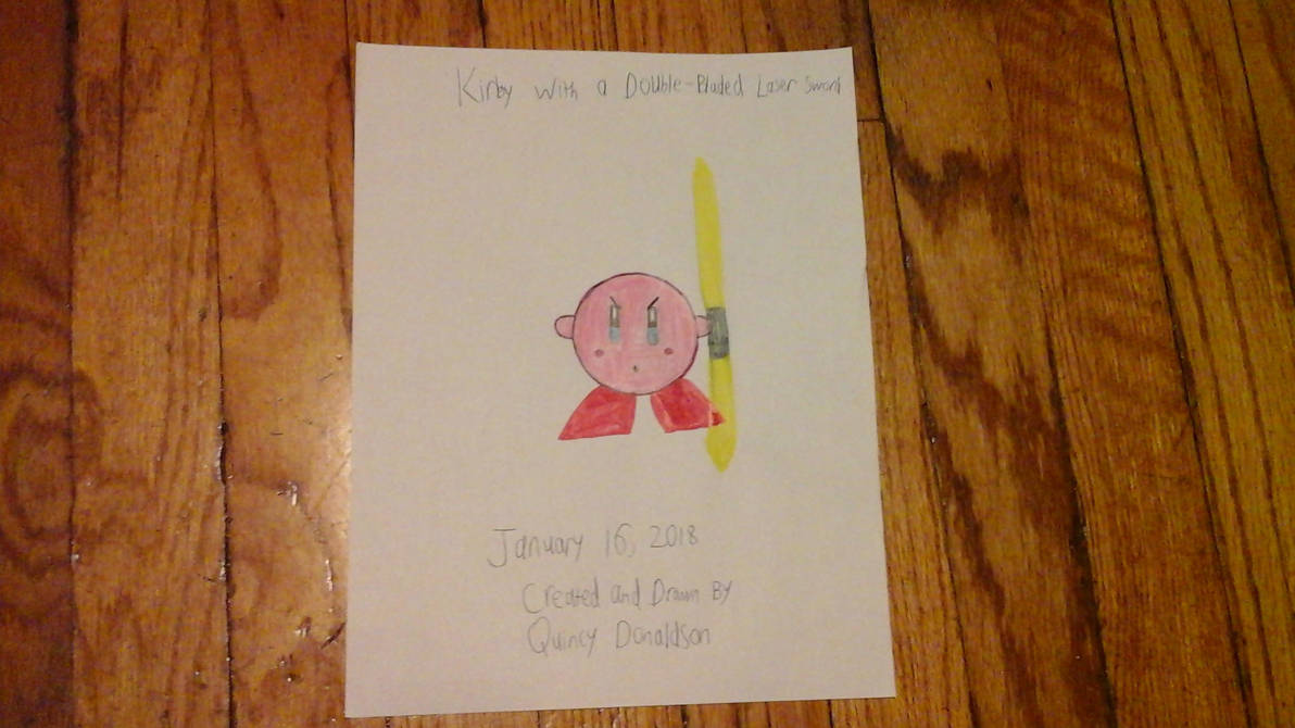 My drawing of Kirby with Double-Bladed Laser Sword by quincyjazimar13
