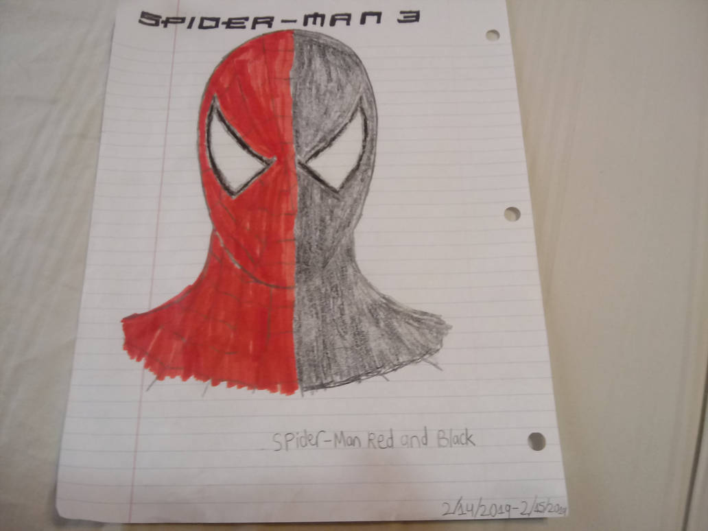My half-red and half-black Spider-Man drawing by quincyjazimar13