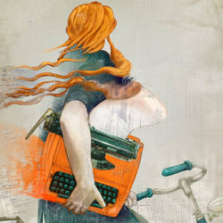 Ilustracion Orange typewriter by letramuda
