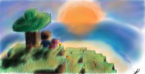 Minecraft- First Sunset by Jangifer