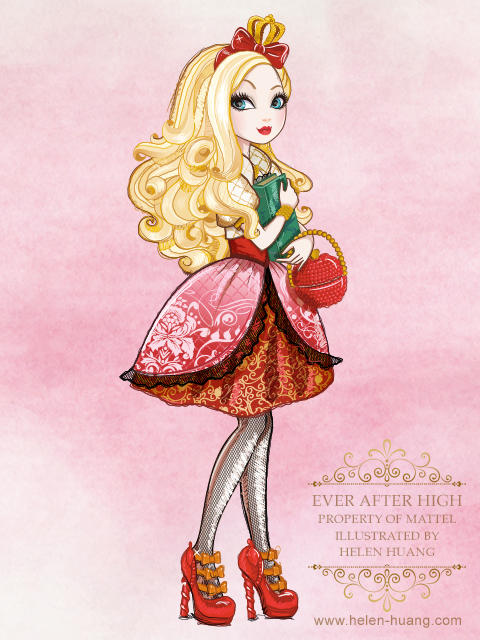 Ever After High Character Illustration Apple White by CQcat