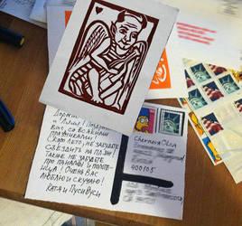 Drinking Demon- handprinted (linocut) postcard, op by KatiaGoa