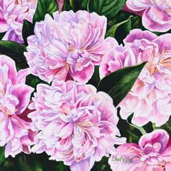 Watercolor Peonies by LikaKinsky