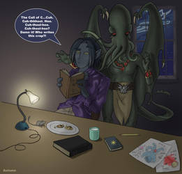 Kurt reads Lovecraft by carcadann