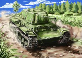 Soviet heavy tank KV-1E by Nakamoora
