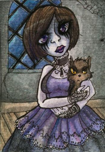 ATC: gothic workshop - my cat by gemstarmew