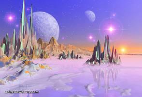 Spiky shore space art landscape by Eon-Works