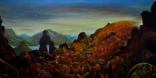 Exodus Oil On Canvas 100x50cm by rodulfo