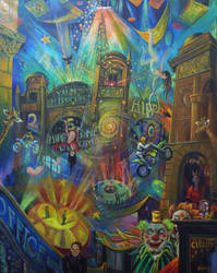 The Day The Clowns Left.oil On Canvas 77x61cm by rodulfo