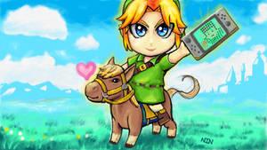 Kawaii Epona and Link with Nintendo Switch by NIN-Neko