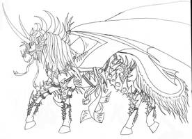 Demon Horse with Armor by dragonphysic
