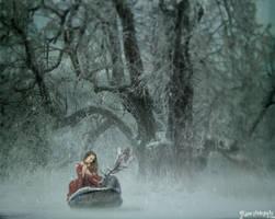 Snowfall deer by lakeglenmiss
