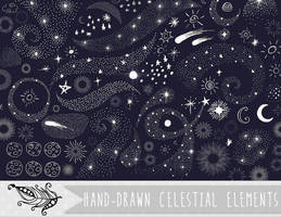 Celestial Doodles Vector and PNG Clipart by InkZen