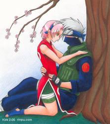Kakashi and Sakura cuddle by Rinpu