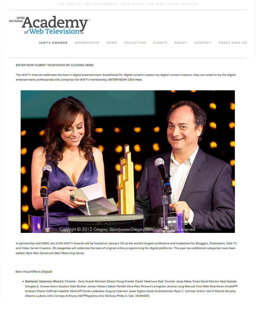 IAWTV Award 2014 for VFX for BSG:Blood and Chrome by Casperium