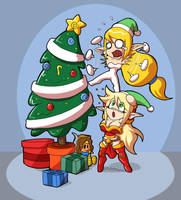 Happy Christmas gift - 2 happy elf on tranning. by tisinrei