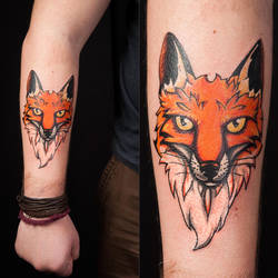 Fox tattoo (done) by JoCoH