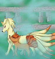 Ninetails and Vulpix by Envy-Puppy