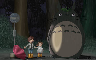 Totoro Scene Recreation Commission! by AlyssaBeCrazy