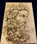 Traditional Drawing Michelangelo's Poseidon! by Halasaar01
