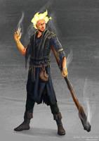 Ashen Blackfyre, Firesoul Genasi Sorceror by bchart