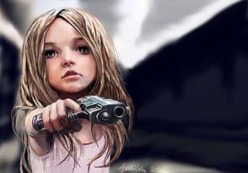 dziewczynka z pistoletem, girl with a gun by alejas22