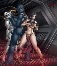 Azumi and Ralune in the Death Star by Karosu-Maker