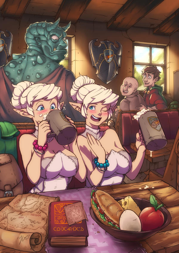 Elves visiting a tavern for the first time by Andante2
