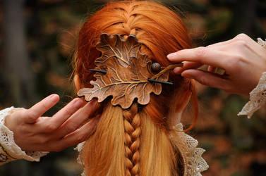 OAK LEAVES leather barrette hair clip FOR SALE by SilverclockCostumes