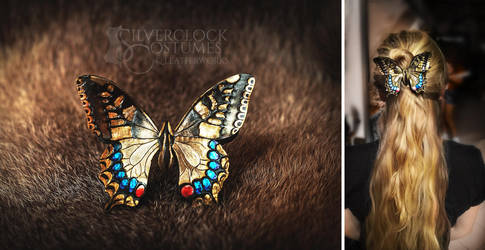 Swallowtail Butterfly hair barrette - leatherwork by SilverclockCostumes