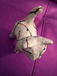 Rainbow Cardboard Cat Sculpture by MMOAngeM