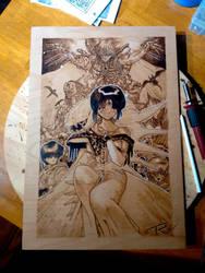 3x3 Eyes Yuzo Takada Wood Burning Pyrography by KealeS